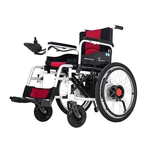 AMDHZ Leichter Faltbarer Elektrorollstuhl mit Doppelfunktion (Lithium-Ionen-Akku), Mit Strom angetrieben oder als manueller Rollstuhl verwendet, Allrad-Smart-Scooter Stoppen Sie jederzeit (43,5 cm)
