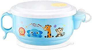 Baby Products 450ml Stainless Steel Interior And Plastic Exterior Double Layer Cartoon Style Bowl With Cover And Handles F...