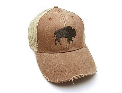 Trucker Hat - Buffalo Silhouette - Adjustable Men's/Unisex Distressed Trucker Hat Buffalo Hat - 3 Color Options