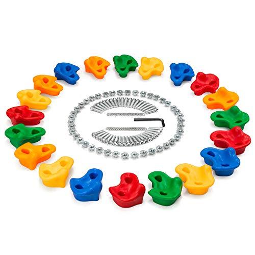 Odoland 20 pzas Presas de Escalada Conjunto para Niños con Misma Forma, Juego de Asas de Escalada Incl. Pernos y Tuercas en T, Piedras de Escalada para Paredes, Piedras de Colores