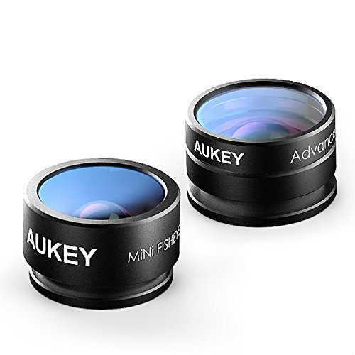 Aukey lente de cámara clip-on objetivo Supremo Fisheye de 160 ° + 20 x objetivo Macro 2 en 1 kit de mini Lens de teléfono para iphone 6/6S/6S Plus, Samsung Galaxy S6