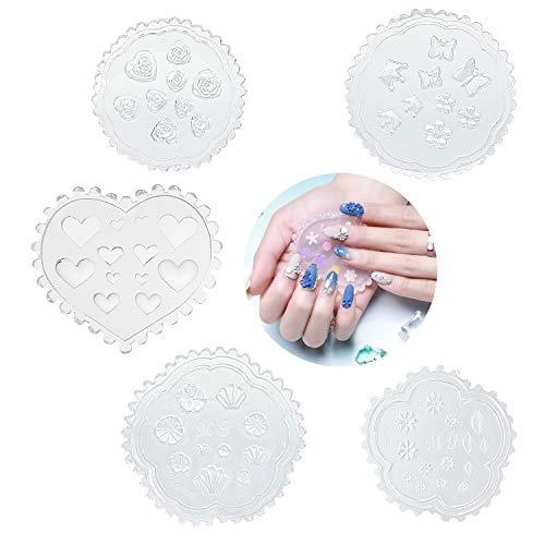Qpout 5 pièces 3D Ongles Moule Silicone assortiment Ongles Cabochon Moule Décoratif Outils de fabrication d'ongles Moule modèle de sculpture sur ongles en silicone