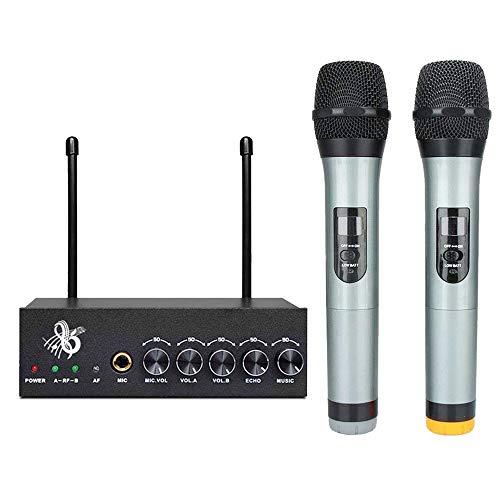 VHF Funkmikrofon Set, Handmikrofon Professionelles Dynamisches Drahtloses Dual Mikrofon Bluetooth Karaoke Anlage Mikrofon mit LCD Display für Party Home KTV Konferenz Konzerte Hochzeit (Schwarz)