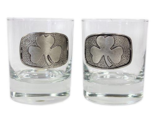 Irish Whiskey Glasses Pewter Shamrock Made in Ireland by Mullingar Pewter