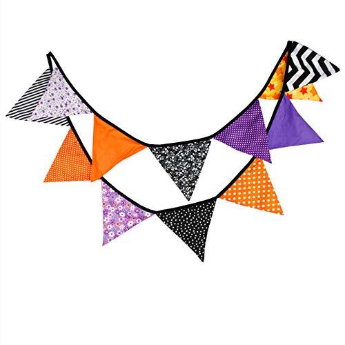 ZYEZI Halloween Dekoration, lila schwarz orange Dreieck Flagge, Polyester Baumwolle Dreieck Flagge, Urlaub Flagge