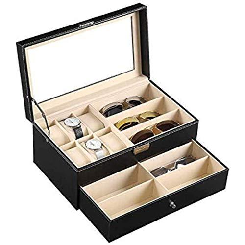 ZHANG Caja de Reloj 9 Piezas Almacenamiento de Anteojos y Gafas de Sol Cuero 6 Caja de Joyería y Cajón de Exhibición Organizador con Cerradura