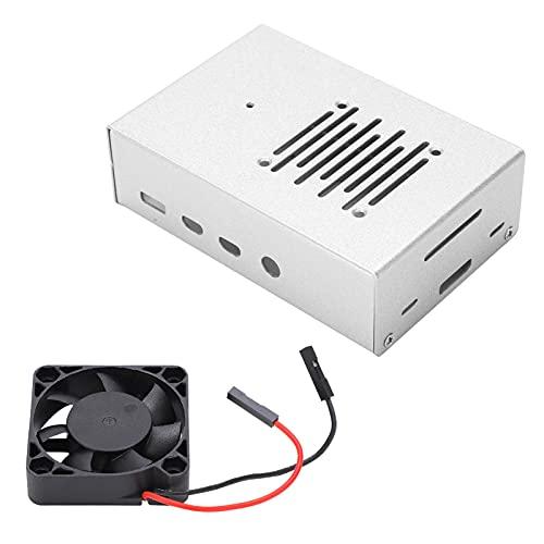 Estuche protector apto para Raspberry Pi, Estuche Raspberry Pi 4B de aleación de aluminio con ventilador de disipación plateado