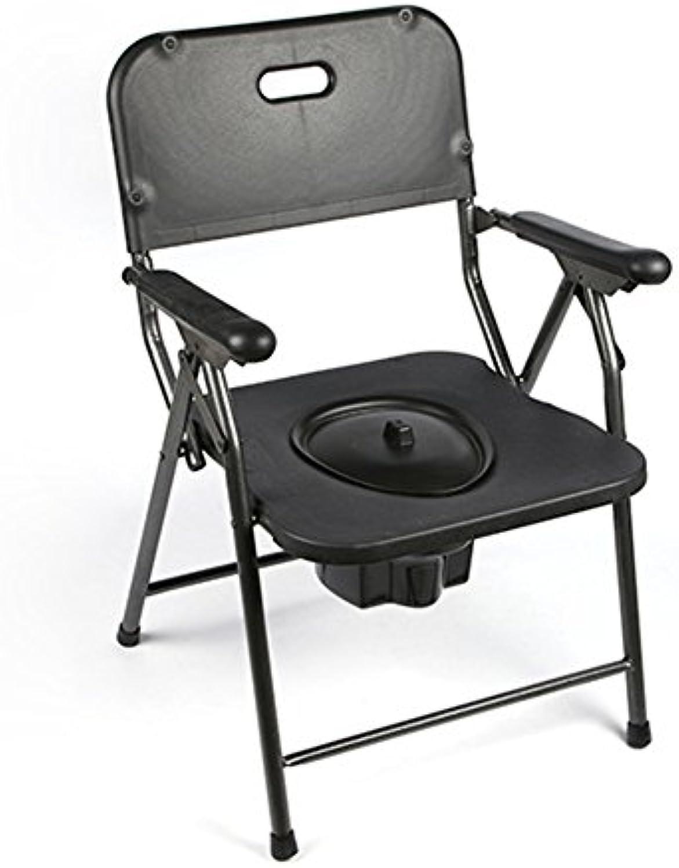 GFYWZ Kommoden-Stuhl, Faltender Leichter Duschstuhl Für Schwangere Frau lter, Schwarz, 53.5  53.7  79Cm