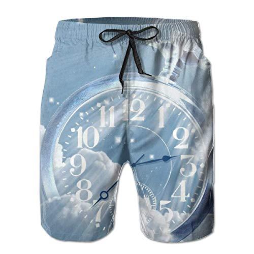 Shorts de Playa de Secado rápido para Hombres Reloj Blue Sky Mesh Lining Surf Surf Swim Board Trunks con Bolsillos, Talla M