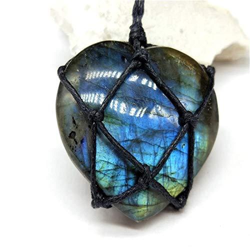 ABCBCA 1Pcs Heart Labradorite Necklace Natural Stone Pendant Wrap Braid Rope Necklace For Men Women Necklace Jewelry (Color : 01)