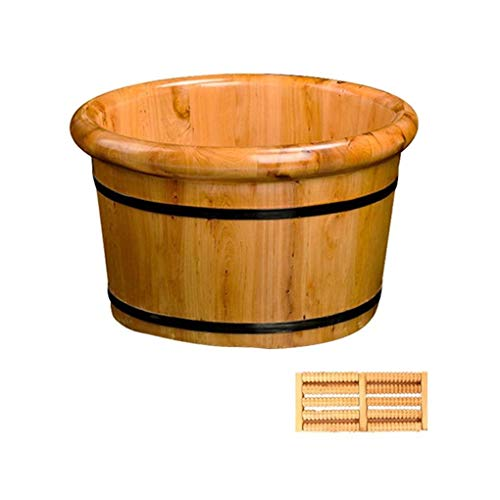 Best Review Of Wooden Foot Basin,Solid Wood Foot Tub, Pedicure Bowl Spa Massage Pedicure Barrels Hou...