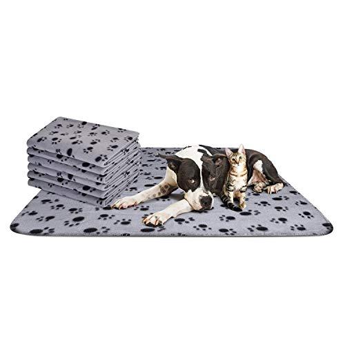 Nobleza – Manta Suave de Felpa para Perros, Gatos y Otras Mascotas. Lavable. 6 Unidades. Color Gris, 160 * 100 cm