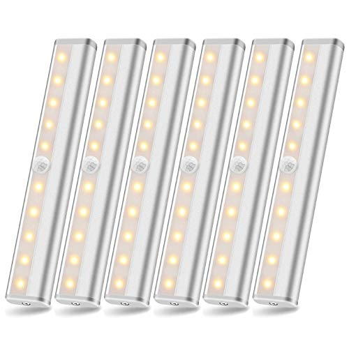 SZOKLED Wireless Motion Sensor Light Indoor Stick on Lights Closet Light Rechargeable LED Homelife LED Bars Strip Under Cabinet Lighting, Portable for Kitchen Stairs Counter Gun Safe Warm White 6 Pack