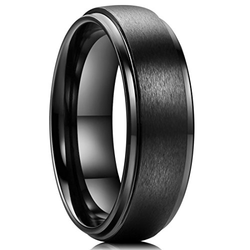 King Will Basic 7mm Black Ceramic Wedding Ring Matte Finished Surface Step Edge Comfort-fit 7.5