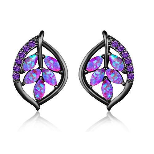 CiNily Created Purple Fire Opal Amethyst Black Gold Plated for Women Jewelry Gemstone Stud Earrings