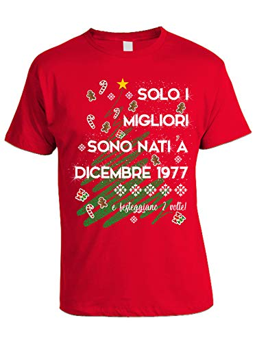 bubbleshirt Tshirt Compleanno Dicembre Solo i Migliori Sono Nati a Dicembre del 1977 e festeggiano 2 Volte - 43 Anni - Maglietta Natale - Idea Regalo Compleanno