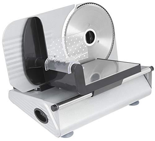 Exquisit AS 3301 Gri| Brotmaschine | 150 Watt | Edelstahl | Brotschneidermaschine | elektrischer Allesschneider | Grau