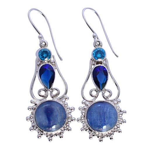 Kynite & Blue Quartz Gemstone - Pendientes colgantes de plata de ley 925 maciza, hechos a mano, para niñas FSJ-5460