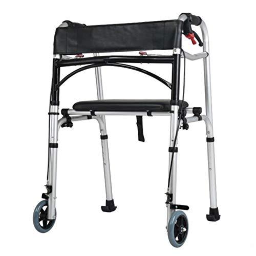 M-YN Andador para Ancianos Andador, Plegable Walker Delantera Ajustable con Ruedas de Apoyo con 2 Ruedas Freno de Mano Asiento for Mayores discapacitados