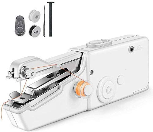 Handheld sewing machine, portable mini electric cordless sewing machine for beginners, quick stitches for fabrics, clothing, and fabrics for home, travel, or work