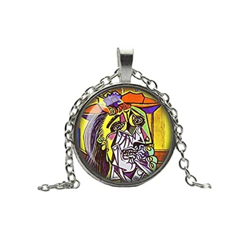 Pablo Picasso Halskette, The Weeping Woman Anhänger, feine Kunst-Schmuck, Glas-Kamee-Halskette, kubistische Kunst-Schmuck, Kunst-Liebhaber-Geschenk, handgefertigt