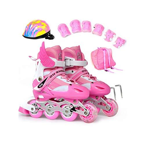 Taoke Inline-Skates, Erwachsene Männer und Frauen einreihig Skates Kind Einstellbare Roller Skates Vorderrad Flash-Full Set (Farbe: Rosa, Größe: S (29-33 Meter)) dongdong