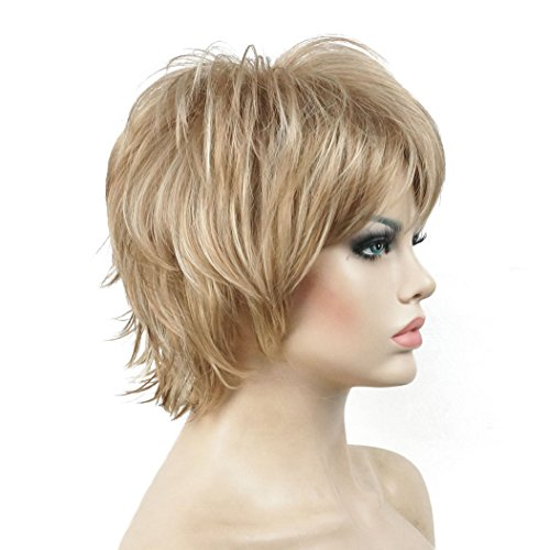 Lydell Short Layered Shaggy Wavy Full Synthetic Wigs (L16/613 Blonde Highlights)