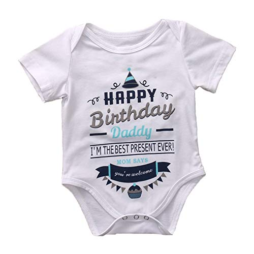 G-Amber Funny Cute Print Letters and Patterns Rompers Bodysuit Kids Short Sleeves Rompers, White-happy Birthday, Dad., 0-3 Months