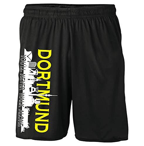 Dortmund Skyline Shorts | Fussball Sport Sommer Ultras Kurze Hose Sporthose (L)