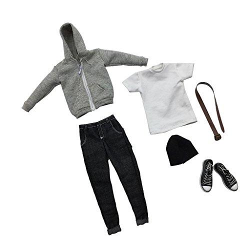 Baoblaze 1/6 Ropa de Hombre Suéter con Capucha de Cremallera de Manga Larga + Pantalones Vaqueros + Sombrero + Zapatos de Lona para Cuerpo de Figura Masculina - Gris Negro