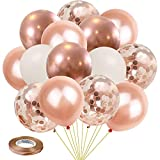 Kalyerparty Rose Gold Balloons, 60 Pack Rose Gold Confetti Balloons 12 inch Rose Gold Balloon White Latex Balloons for Birthday Party Wedding Graduation Bridal Shower Decorations.