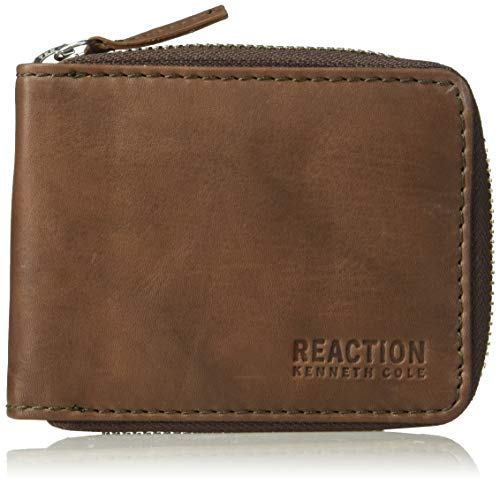 Kenneth Cole REACTION Men's RFID Blocking Bifold Zip Around Wallet with Coin Pocket , -brown, One Size
