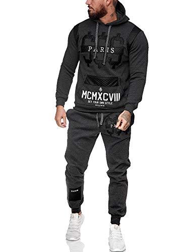 Leder Herren Jogging Anzug Jacke Sport Hose Fitness Hoodie Hose S16 S-XXL anthrazit L