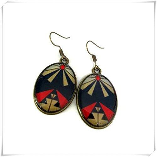 Elf House Aztec pendientes – Pendientes bohemios – Pendientes étnicos – Pendientes bohemios – Pendientes tribales – geométricos –