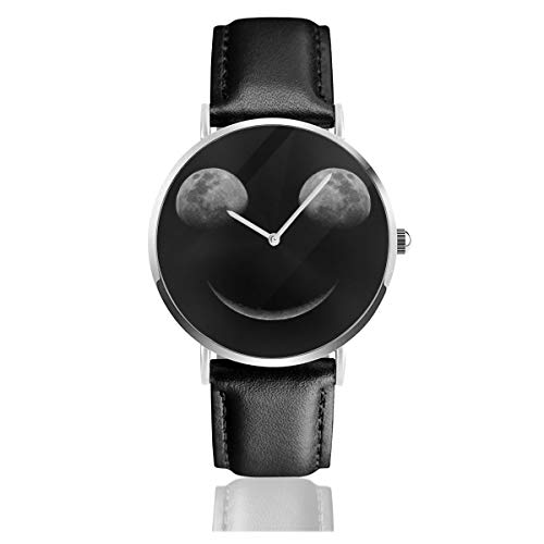 Unisex Business Casual Moon Eclipse Smiley Face Watches Quartz Leather Watch with Black Leather Band for Men Women Young Collection Gift