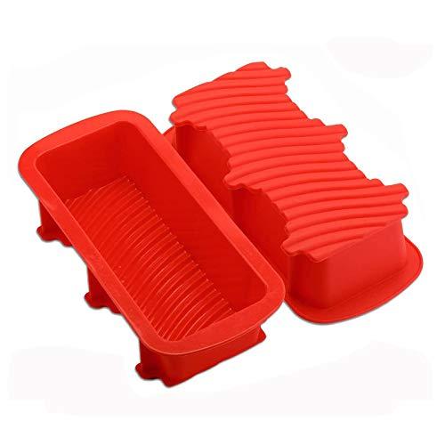 KATELUO Große Brotbackform Silicon, Flexible Kastenform Antihaft zum Backen von Brot, Toast, Kuchen (2 Stücke)