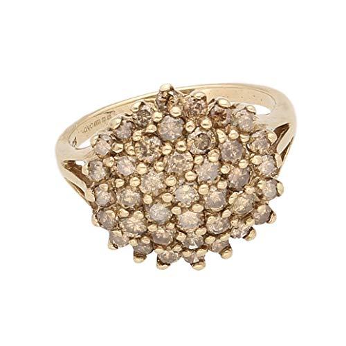 Anillo de oro amarillo de 9 quilates con diamante de coñac de 1,00 quilates (tamaño N) 16 x 15 mm   Anillo de lujo para mujer