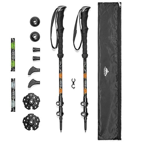 Cascade Mountain Tech Trekking Poles - Aluminum Hiking Walking Sticks with Adjustable Locks Expandable to 54' (Set of 2) , Orange