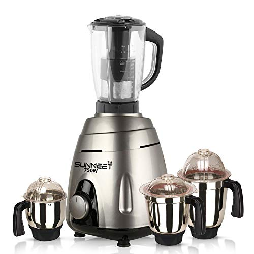 Sunmeet 750 watts Heavy Duty Mixer Grinder with 4 Jars Color Silver (Chutney Jar, Medium Jar, Large Jar and Juicer Jar with Filter) MAR20-3 Make in India (ISI Certified)