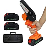 Mini Chainsaw Cordless, LAIMONGVC 4-Inch Brushless Electric Chain Saw With 2Pack Battery and Portable Box, Battery Operated One Hand Pruning Shears Saw for Garden Tree Pruning, Wood Cutting