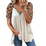 Bidobibo Cold Shoulder Tops for Women Leopard Print Cut Out Shoulder Shirt Sexy V Neck Zipper Short Sleeve Shirts White