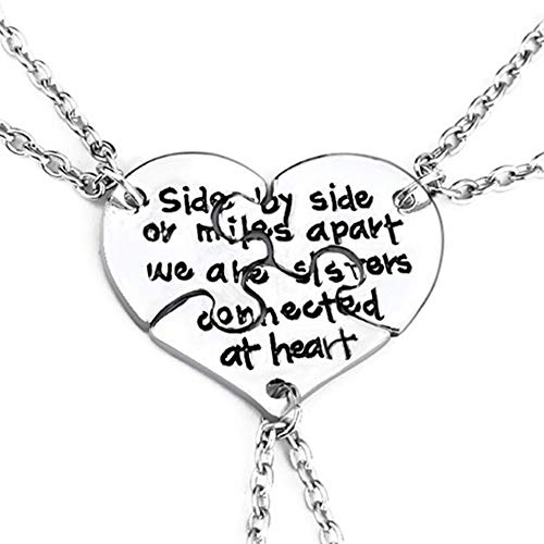 3 Pcs Best Friends Forever Engraved Necklace Broken Heart Charm Pendant Set BFF Friendship Necklace