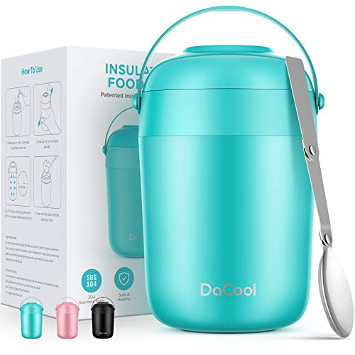 DaCool Food Thermoses for Hot Cold Food 16oz - Insulated Food Jar Kids Soup Thermoses with Spoon Handle Vacuum Stainless Steel Girls Boys Lunch Box Leakproof for School Office Picnic Camping Cyan Blue