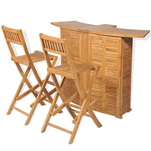 VIENDADPOW Set Mesa y sillas Plegables bistró de jardín 3 pzas Teca Maciza