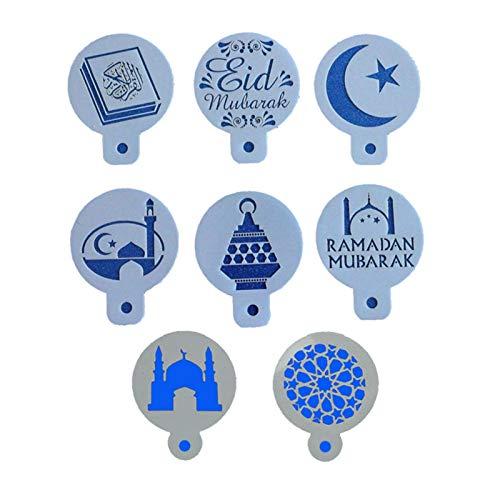 qianele 8 Stück/Set Eid Mubarak Ramadan Design Kaffeeschablonen Backen Cupcake Ramadan Dekoration Werkzeuge Keks Mousse Kuchen Vorlage