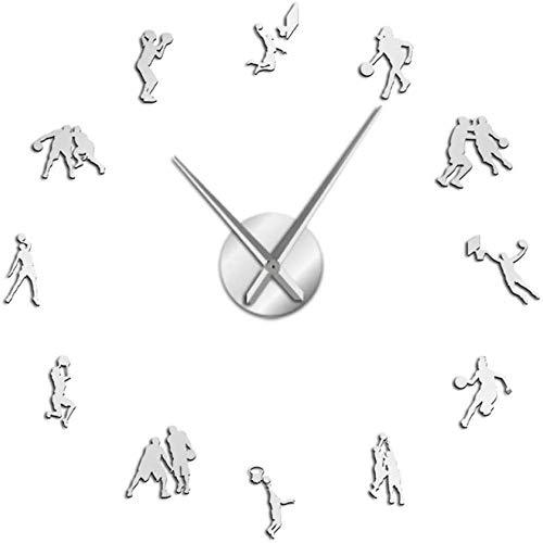 ZYZYY Reloj de pared jugador de baloncesto Diy reloj de pared grande gimnasio gigante reloj decorativo efecto espejo