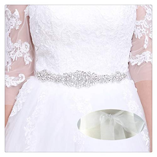 QueenDream Bridal sash Belt Organza Rhinestone Belt Organza Bridesmaid Dress sash Western Rhinestone Belt Wedding Rhinestone Belt