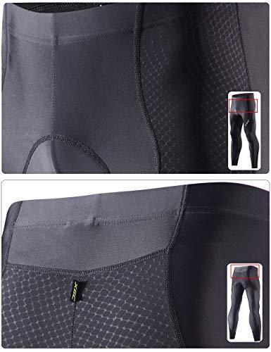 XGC Herren Lange Radlerhose Fahrradhose Radhose Radsportshorts für Männer Elastische Atmungsaktive 4D Schwamm Sitzpolster mit Einer Hohen Dichte (Black, S) - 5