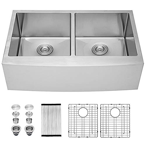 Sarlai 33 Inch Farmhouse Sink Double Bowl 50/50 Stainless...