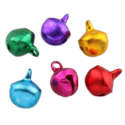 Perlin - 500 Glöckchen Glocken Schellen 8mm mit Öse Rund Mix Farbe Bunter Basteln Metallglöckchen, Mini Anhänger M28 x2